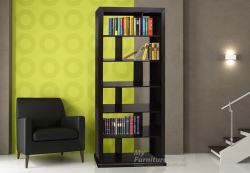 DERBY 12 BOX BOOKCASE / ROOM DIVIDER WITH 5 INTERNAL SHELVES - 2400(H) X 1000(W) - ASSORTED COLOURS