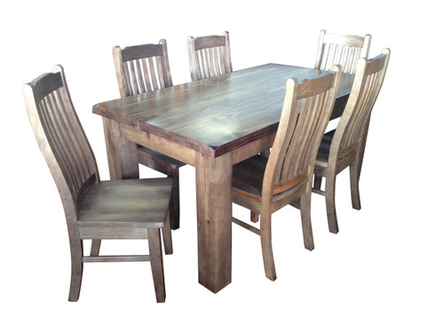 HERITAGE (HTG7P) 7 PIECE DINING SETTING (WITH 6 DINING CHAIRS) 1.6'' TABLE  - 1600(L) x 900(W) - GREY WASH (#501)