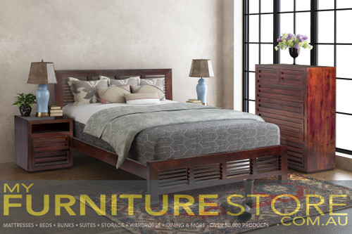 MANLY DOUBLE OR QUEEN 4 PIECE (TALLBOY) BEDROOM SUITE (M4PCE) - BALTIC (#215), WALNUT (#219) OR GREYWASH (#501)