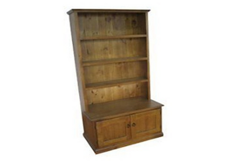COLONIAL BOOKCASE WITH BOTTOM DOORS WITH 3 SHELVES IN HUTCH - 1800(H) X 900(W) - ASSORTED COLOURS