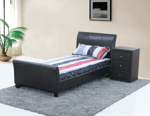 QUEEN CHANDRA (LBD032) LEATHERETTE BED - BLACK