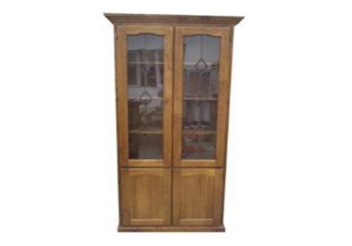 NOOSA LIBRARY 4 DOOR DISPLAY CABINET WITHOUT THE LEADLIGHT (Z-7) (HAYMAN) (NOT AS PICTURED) - 2100(H) x 900(W) - BALTIC(#215) OR WALNUT(#219) OR GREYWASH