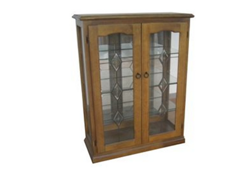 CHINA 2 DOOR DISPLAY CABINET WITHOUT LEADLIGHT (Z-10) - (NOT AS PICTURED) - 1200(H) x 900(W) - BALTIC (#215 - PICTURED) OR WALNUT (#219)