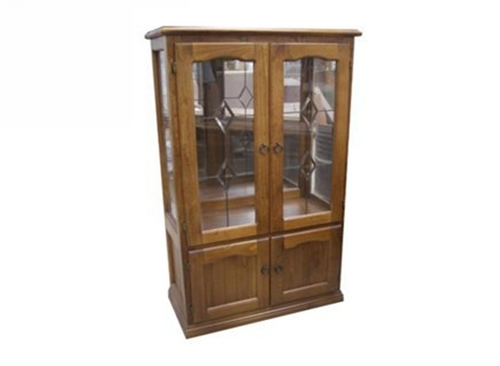 CHINA 4 DOOR DISPLAY CABINET WITHOUT LEADLIGHTS (Z-11) (NOT AS PICTURED) - 1500(H) x 900(W) - GREYWASH (501) , NUTNEG (177) , BALTIC (215) OR WALNUT (219)
