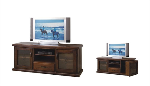RUSTIC LOWLINE TV UNIT WITH 2 DOORS, 1 DRAWER AND SWING DVD DOOR - 650(H) X 1650(W)