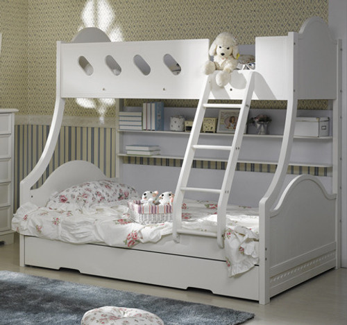 MAJESTIC (AE-523IW) SINGLE OVER DOUBLE (TRIO) BUNK WITH MATCHING SINGLE TRUNDLE BED - IVORY WHITE (MODEL-3-12-15-21-4-25)