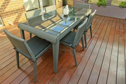 7 PIECE WHITNEY RECTANGULAR DINING SETTING (1 x WHITNEY RECTANGULAR TABLE [WTK-628/18/S]; 6 X WHITNEY DINING CHAIRS [WCK628/A/6]) - GREEN - 1800(L) x 900(W)