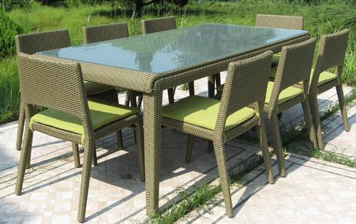 9 PIECE WHITNEY RECTANGULAR DINING SETTING (1 x WHITNEY RECTANGULAR TABLE [WTK-628/22/S]; 8 X WHITNEY DINING CHAIRS [WCK628/A/4]) - GREEN - 2200(L) x 900(W)