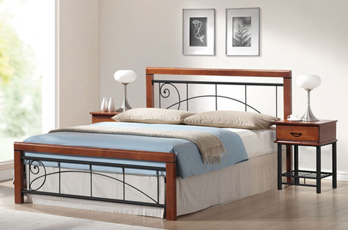 FRANKLIN DOUBLE OR QUEEN TIMBER AND METAL 3 PIECE BEDSIDE BEDROOM SUITE - ANTIQUE OAK / PLATINUM BLACK