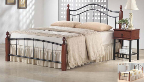 CROWN DOUBLE OR QUEEN 3 PIECE BEDSIDE BEDROOM SUITE WITH FRANKLIN 1 DRAWER BEDSIDES (WITH BOW HANDLES - NOT AS PICTURED) - ANTIQUE OAK / BLACK