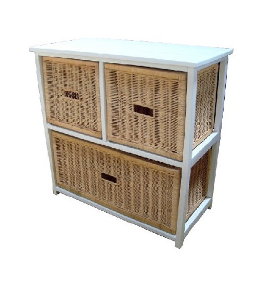 BONDI 3 DRAWERS NATURAL CANE CABINET (V-BON-3D) - WHITE PAINTED