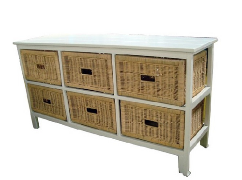 BONDI 6 DRAWER NATURAL CANE WIDE CABINET (V-BON-6D-W) - WHITE PAINTED