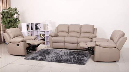 MAPUTO (V-1706) 3RR + 1R + 1R LEATHER RECLINER SUITE - BLACK, BROWN, IVORY OR TAUPE
