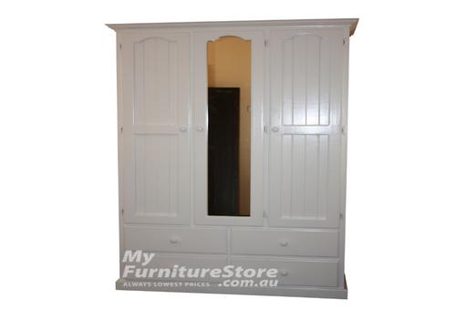 MUDGEE (AUSSIE MADE) 3 DOOR 4 DRAWER MIRROR WARDROBE - 1900(H) X 1200(W) - ASSORTED COLOURS