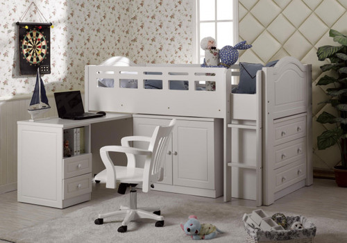 KING SINGLE WALDORF (LS-028) MIDI SLEEPER BUNK BED (MODEL:22-5-18-19-1-9-12-12-5-19) - IVORY WHITE