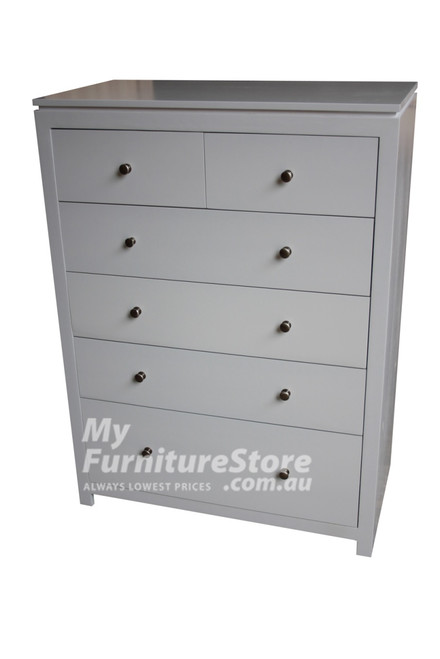 CELINE 6 DRAWER TALLBOY WITH HANDLES - 1300(H) X 900(W) - ASSORTED COLOURS (PICTURED IN WHITE)