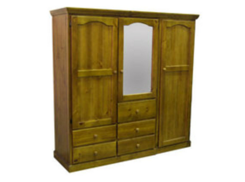 MUDGEE 2 PIECE TIMBER WARDROBE WITH 3 DOORS & 5 DRAWERS - 1900(H) X 1800(W) - ASSORTED COLOURS