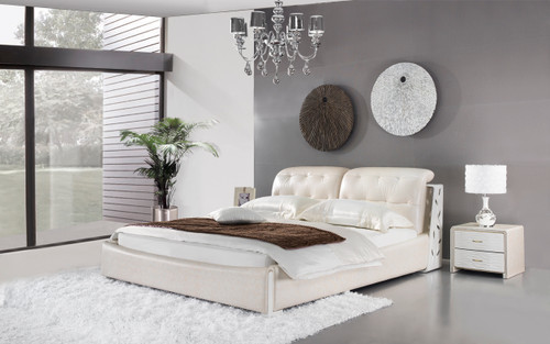 QUEEN VASERIA LEATHERETTE BED (A9318) - ASSORTED COLOURS - (WITH OPTIONAL UPGRADE FOR GAS LIFT UNDERBED STORAGE)