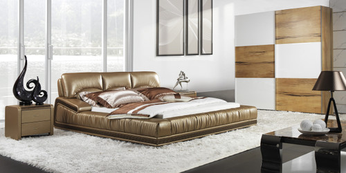 KING ABRO LEATHERETTE BED (A9963) - ASSORTED COLOURS - (WITH OPTIONAL UPGRADE FOR GAS LIFT UNDERBED STORAGE)