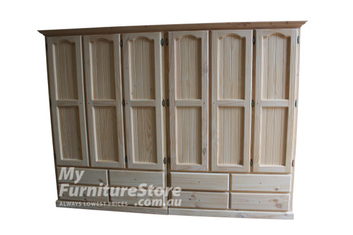 MUDGEE 2 PIECE WARDROBE WITH 6 DOORS AND 8 DRAWERS - 1800(H) X  2400(W) - ASSORTED COLOURS