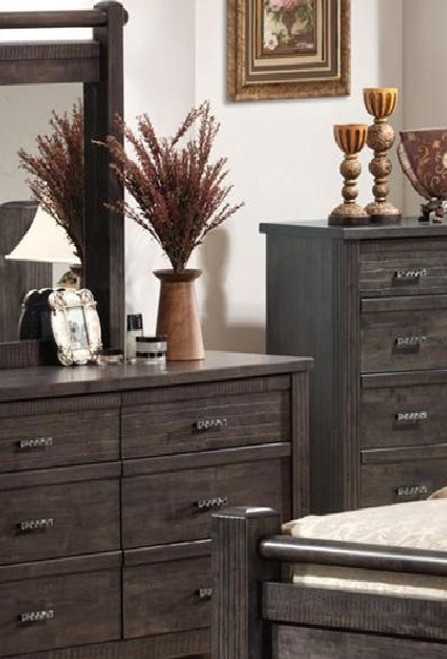 ASHCOURT  6 DRAWER DRESSER WITH MIRROR (5-4-9-19-15-14)  - 1490(H) X 1870(W) - CHACOAL