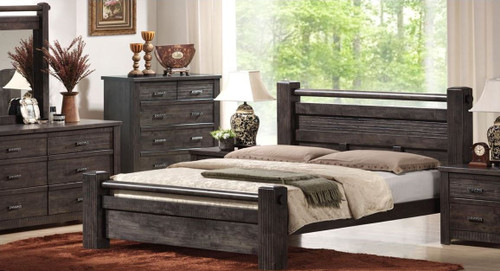 EDYSON KING 5 PIECE DRESSER BEDROOM SUITE -  CHARCOAL