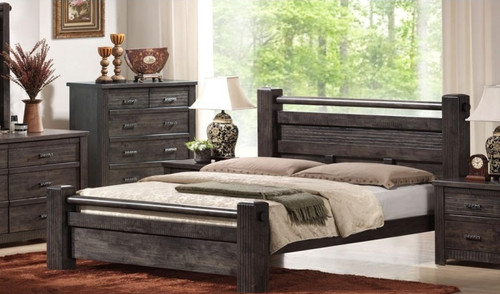 ASHCOURT QUEEN 4 PIECE TALLBOY BEDROOM SUITE (5-4-9-19-15-14)  - CHARCOAL