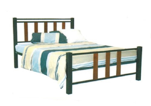 DOUBLE LONDON  BED - BLACK POWDER COAT WITH BALTIC TIMBER STAIN