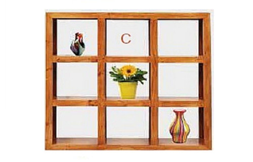 (C) 9 CUBE BOOKSHELF / DISPLAY - 1500(H) X 1500(W) - BLACKWOOD (1371) OR WALNUT (1985)