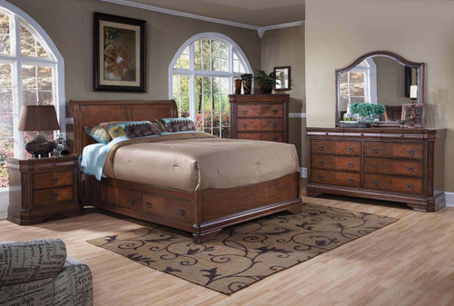 WATERFORD QUEEN 6 PIECE (THE LOT) BEDROOM SUITE WITH UNDER BED STORAGE - (MODEL 19-8-5-18-9-4-1-14) - BROWN