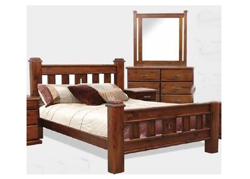 DOUBLE SPRING BED AND SLATS - ROUGH SAWN (1256)