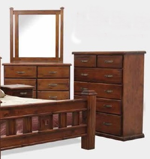 SPRING 6 DRAWER DRESSING TABLE WITH MIRROR - 840(H) X 1300(W)  - ROUGH SAWN (1085)