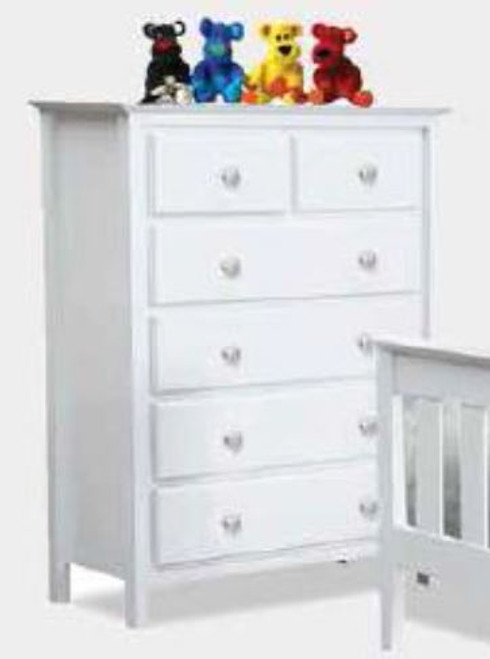 NICKY 6 DRAWER TALLBOY 1200(H) x 900(W) - WHITE (1376)