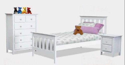 NICKY DOUBLE OR QUEEN 4 PIECE (TALLBOY) BEDROOM SUITE - WHITE