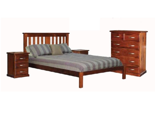 MOREWELL DOUBLE OR QUEEN 4 PIECE (TALLBOY) BEDROOM SUITE - ROUGH SAWN