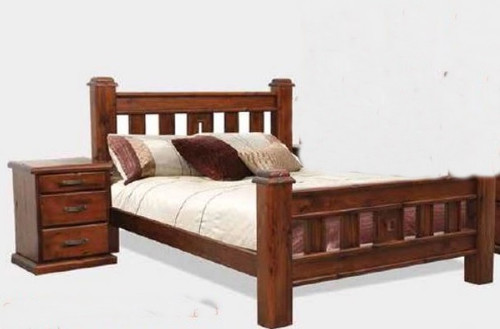 SPRING DOUBLE OR QUEEN 3 PIECE BEDSIDE  BEDROOM SUITE - ROUGH SAWN