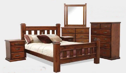 SPRING DOUBLE OR QUEEN 4 PIECE TALLBOY  BEDROOM SUITE - ROUGH SAWN