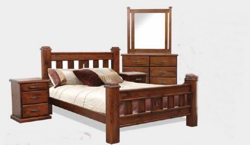 SPRING DOUBLE OR QUEEN 5 PIECE DRESSER BEDROOM SUITE - ROUGH SAWN