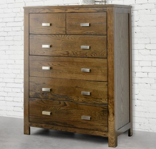 MEMPHIS 6 DRAWER TALLBOY - 1200(H) X 920(W)-SMOKEY GREY