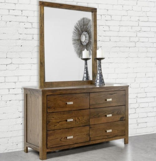MEMPHIS 6 DRAWER DRESSER WITH MIRROR  - 800(H) X 1340(W) - SMOKEY GREY