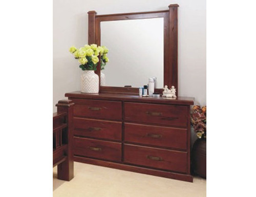 RUSTIC DRESSING TABLE WITH MIRROR -  735(H) X 1400(W)  - RUSTIC