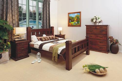RUSTIC KING 3 PIECE BEDSIDE BEDROOM SUITE