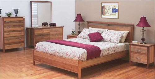 GLENDALE KING 4 PIECE TALLBOY BEDROOM SUITE - BLACKWOOD
