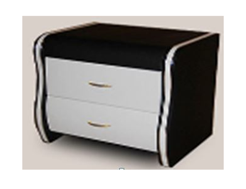 ALFRED 2 DRAWER LEATHERETTE BEDSIDE TABLE - BLACK / WHITE