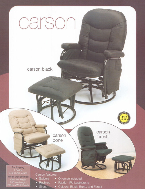 CARSON LEATHERETTE ROCKER / GLIDER WITH FOOTSTOOL - BLACK OR BONE