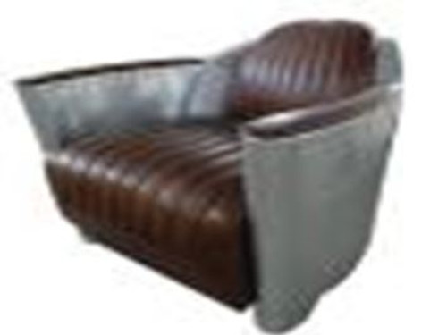 CORTONA  (2002) 3S +1S + 1S LOUNGE SUITE - FULL LEATHER + ALUMINIUM