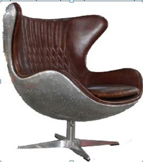 CASORIA  (2016) 1 SEATER FULL LEATHER + ALUMINIUM CHAIR WITH FLUSH SOCKET