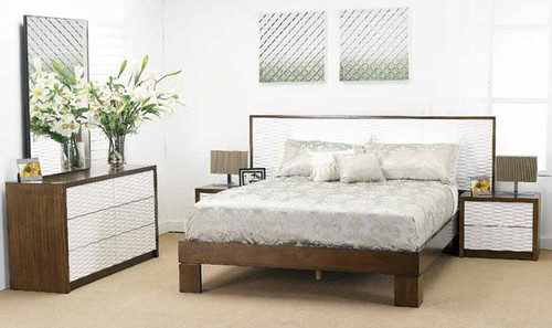 WAVES KING 5 PIECE BEDROOM SUITE - WALNUT AND WHITE