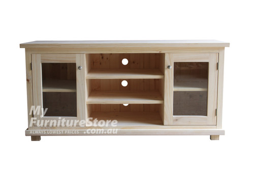 ARNCLIFFE SPECIAL 2 DOOR TV UNIT WITH 1 DRAWER / 2 SPACES -  740(H) x 1600(W)  -  ANTIQUE WHITE / FRUITWOOD TOP