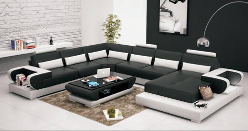 MANCHE (G8003) CORNER LOUNGE SUITE + COFFEE TABLE - CHOICE OF LEATHER AND ASSORTED COLOURS AVAILABLE
